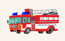 Funny Cute Hand Drawn Cartoon Vehicles. Bright Cartoon Fire Truck, Fire Engine, Vector Illustration