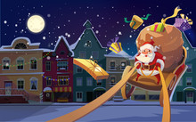 Christmas Card. Christmas Background With Santa Driving His Sleigh And Gives Presents And Gifts. Winter Night City In The Background. And Copyspace For The Text