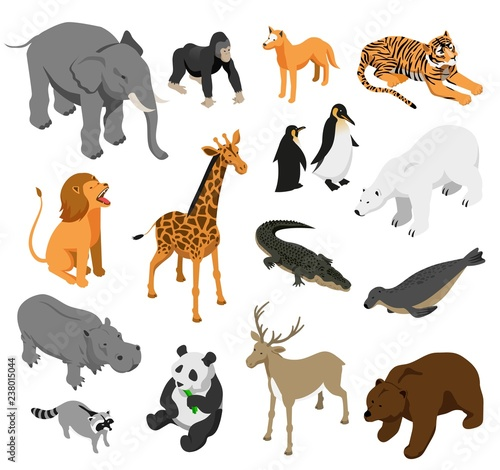 Papel de parede Zoo Animals Isometric Set