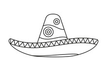 Line Art Black And White Mexican Hat