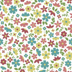 Tiny colorful flowers and leaves on white background seamless vector pattern