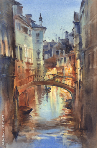 Poster Cappuccino Venetian night lights watercolor landscape. A canal with gondolas under the bridge