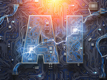 AI, Artificial Intelligence. Computer Chips With CPU In Form Of Text AI.