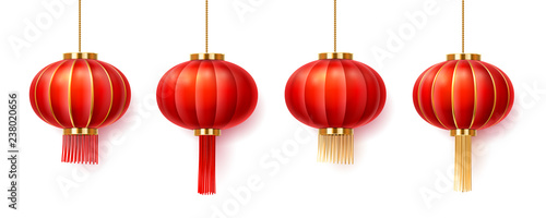 Fotografie, Obraz Set of isolated chinatown lanterns for new year or festival