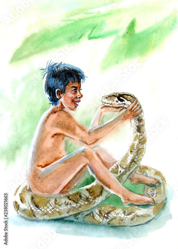 boy and snake watercolor Wallpaper Mural