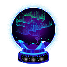 Vector Dotted Swirls Of Color Northern Or Polar Light In The Snow Globe. Round Composition With Aurora Borealis Lights In Dotwork Style On The Night Background For Arctic Space Or Galaxy Design.