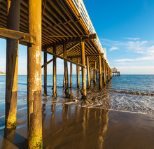 Wooden Pier In Malibu Beach Se...