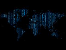 Digital Background Of Blue Matrix On World Map. Binary Computer Code. Vector Illustration.