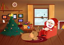 Christmas, Santa Claus Sleepin...