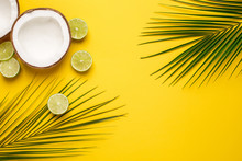 Tropical Coconut, Palm And Lime On A Yellow Background