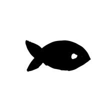 Fish Icon. Grunge Ink Vector Illustration.