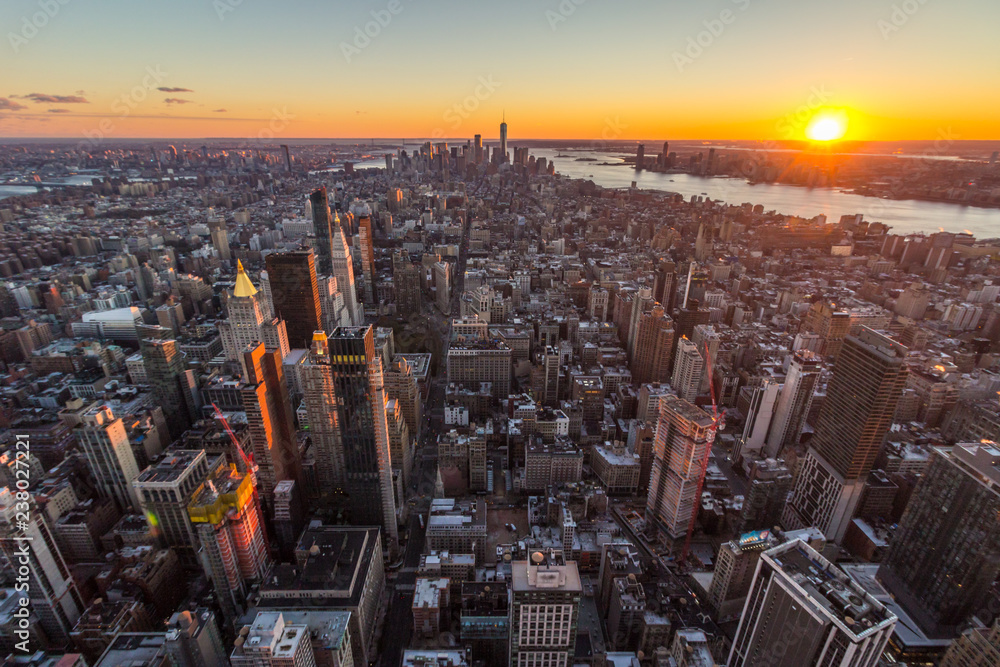 Fototapety, obrazy: Cityscape of Manhattan, New York at Sunset. United States of America. Aerial View. Wide Shot