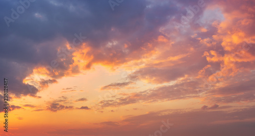 Fototapety, obrazy: Colorful vibrant dramatic sky with purple to orange clouds. Sunset time. Beautiful nature background