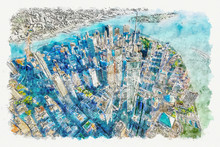 Aerial View Of The Freedom Tower At One World Trade Center, Manhattan, New York Watercolor Painting