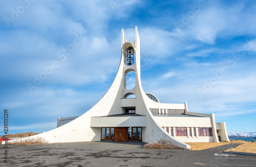 Photo sur Toile Edifice religieux Stykkisholmur church on hill, Iceland