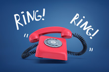 3d Rendering Of A Red Old-fashioned Landline Telephone Ringing Loudly With The Words 'Ring' On Both Sides.