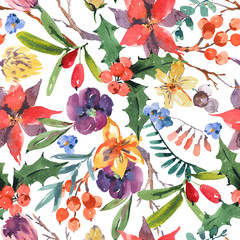 Winter floral watercolor seamless pattern with branches, holly, flowers and berries