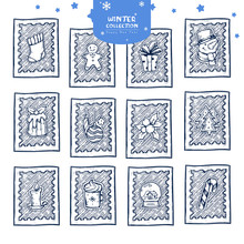 Christmas Postage Stamp Stickers