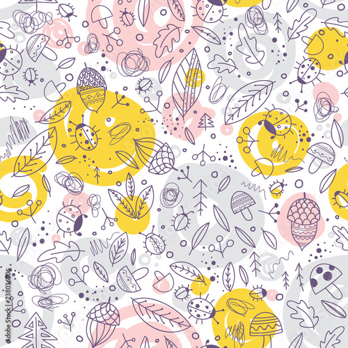 Cute forest elements vector seamless pattern.