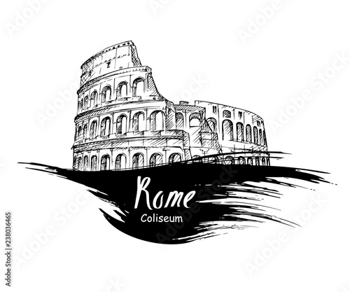 Leinwand Poster hand drawn Colosseum