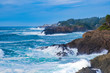 Ocean waves crashing,Rocky coast and beach with ocean surf, Oregon Coast USA