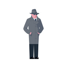 Mysterious Man Wearing A Gray Hat And Coat