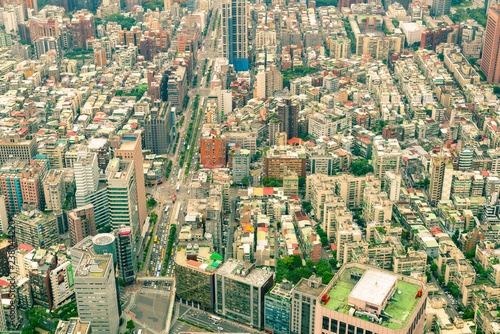 Spoed Foto op Canvas Stad gebouw Taipei city crowded residence area aerial view, cityscape background