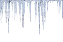 Winter Icicles Hang From Top, Isolated On White Background