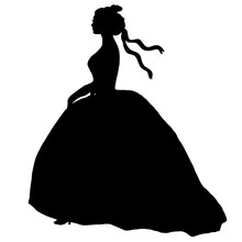 Black Female Silhouette In Ball Gone. Bride Romantic Illustration. Young Model, Profile. Curly Combed Hair, Ribbons. Nice Design For Banners, Decoupage, Scrapbooking, Advertising, Posters, Prints