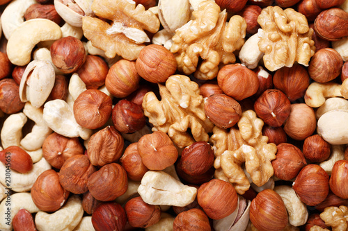 mix of dried nuts as background