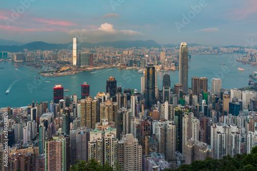 Foto op Plexiglas Stad gebouw The Peak, Hong Kong business downtown over Victoria Bay, cityscape background