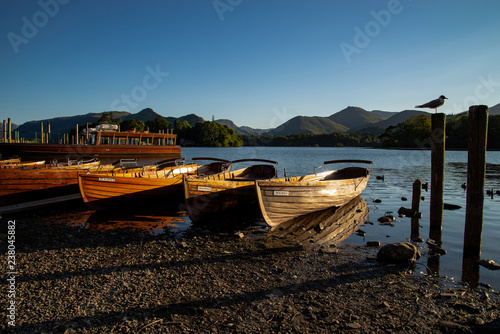 Leinwand Poster rowing boats on derwent water