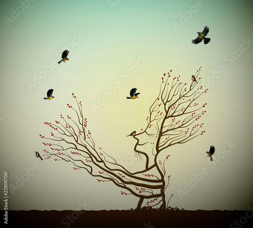 alive tree on the rock and titmouses birds, tree soul, man like tree giving his Wallpaper Mural