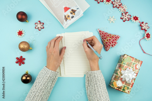 Christmas Greeting Letter Top View Of