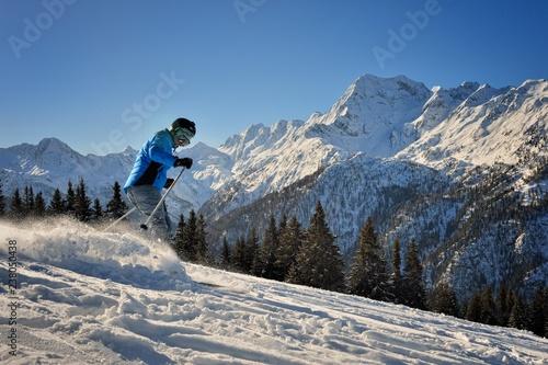 Sciatore sulle piste di Aprica Canvas Print