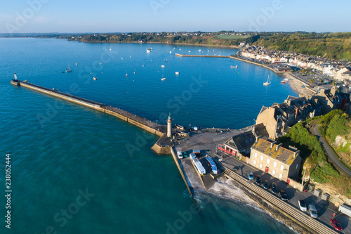 In de dag Poort aerial view to pier and harbor in France