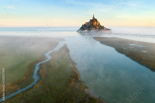 aerial view to river and castle in the morning