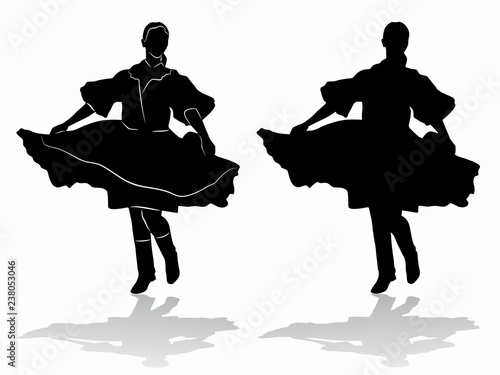 Fotografía silhouette of woman folklore dancer, vector draw