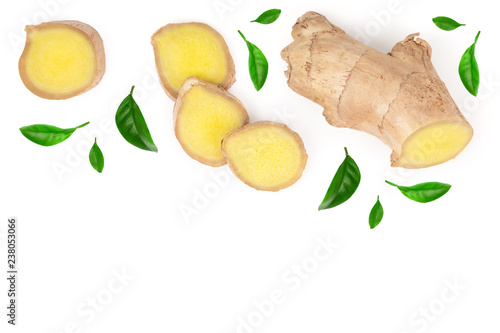 Fototapeta fresh Ginger root and slice isolated on white background with copy space for your text. Top view. Flat lay obraz