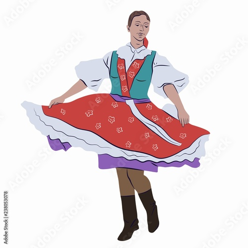 Fotografia  illustration of woman folklore dancer, vector draw