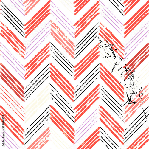 abstract background, with strokes and splashes, seamless zigzag pattern