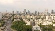 Ramat Gan monument and Tel Aviv aerial skyline 4k drone footage