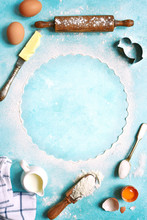 Ingredients For Baking - Eggs,flour,sugar,butter,milk .Top View With Space For Text.