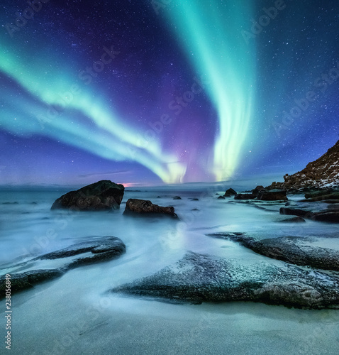 Valokuvatapetti Aurora borealis on the Lofoten islands, Norway