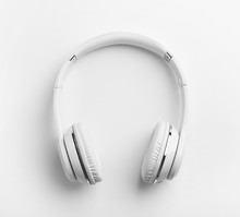 Stylish Modern Headphones With Earmuffs On White Background