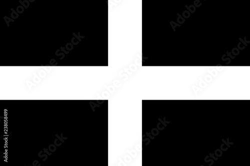 Leinwand Poster Flag of Cornwall, cornish flag, Saint Piran's flag Standard proportion