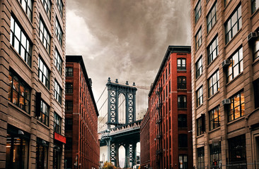 Fototapeta Industrialny DUMBO Down under Manhattan bridge, New York city street