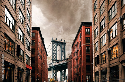 Fotografie, Tablou DUMBO Down under Manhattan bridge, New York city street