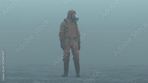 Obraz na plátne Man in a Hazmat suit foggy overcast wasteland 3d Illustration 3d render