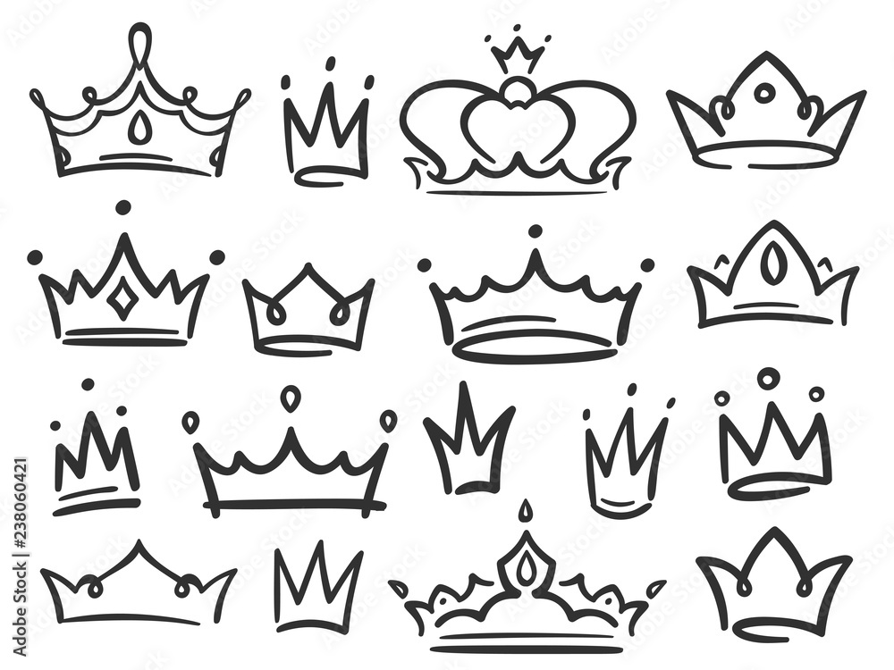 Fototapeta Sketch crown. Simple graffiti crowning, elegant queen or king crowns hand drawn vector illustration